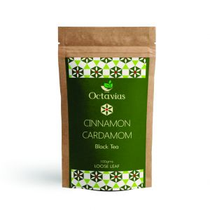 Octavius Cinnamon & Cardamom Classic Black Tea- Blend Of Assam Black Tea With Fresh Cinnamon & Cardamom-100 Gms
