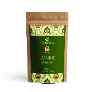 Octavius Jasmine Loose Leaf Green Tea | Antioxidants Rich | Reduces Cholesterol | Detox Tea | Supports Weight Loss-100 Gms