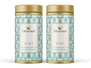 Octavius Mint Green Tea Whole Leaf Pyramid Tea Bags(pack Of 2)