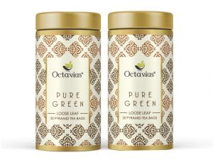 Octavius Pure Green Tea, Whole Leaf, Pyramid Tea Bags(pack Of 2)