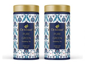 Green Tea - Octavius Darjeeling Loose Leaf Pure Green Tea Tin Can -100 Gms(Pack of 2)