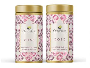 Octavius Rose Green Tea, Whole Leaf, Pyramid Tea Bags(pack Of 2)