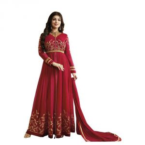 Bhumik Enterprise Women Designbe Georgette Red Embroidbeed Semi Stitched Long Anarkali Suit (code - Be10475)
