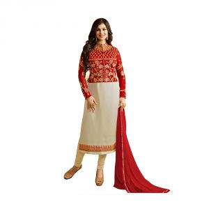 Bhumik Enterprise Ayesha Takia Cream Color Georgette Fabric Fancy Party Wear Embellished Anarkali Dress (code - Be10498)