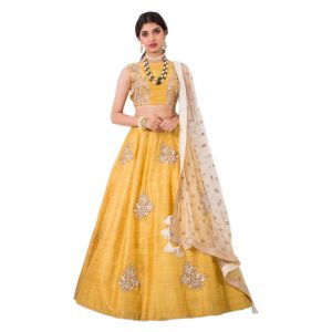 Women's Clothing - Bhumik Enterprise   Women Banglory Silks Bollywood DesignBE Semi-Stitched Lehenga Choli  (Code - BE10665)