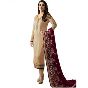 Bhumik Enterprise Designbe Maroon&beige Color Embroidbeed Work Straight Salwar Suit (code - Be10797)