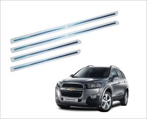 Side beading for cars - Trigcars Chevrolet Captiva car White Side Beading With Chrome Line Set Of -4 -Free Gift Car Bluetooth