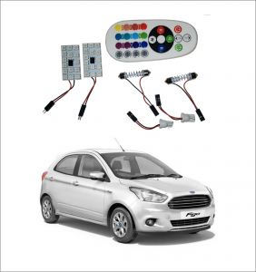 Trigcars Ford Figo New 2 X 16 Colors Rgb Bright 5050 LED Car Roof Dome Light Festoon T10 IR Remote