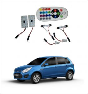Trigcars Ford Figo Old 2 X 16 Colors Rgb Bright 5050 LED Car Roof Dome Light Festoon T10 IR Remote