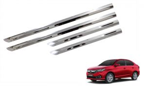 Side beading for cars - Trigcars Honda Amaze 2018 Car Steel Chrome Side Beading