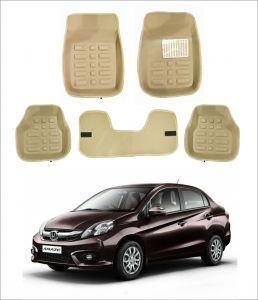 Trigcars Car Carpet Cream Car Floor/foot Mats For Honda Amaze