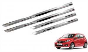 Trigcars Honda Brio Car Steel Chrome Side Beading
