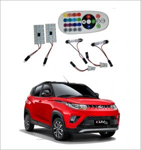 Trigcars Mahindra Kuv 100 2 X 16 Colors Rgb Bright 5050 LED Car Roof Dome Light Festoon T10 IR Remote