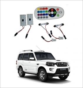 Trigcars Mahindra Scorpio New 2 X 16 Colors Rgb Bright 5050 LED Car Roof Dome Light Festoon T10 IR Remote