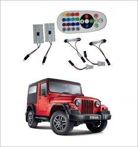 Trigcars Mahindra Thar 2 X 16 Colors Rgb Bright 5050 LED Car Roof Dome Light Festoon T10 IR Remote