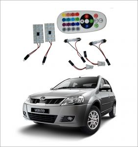 Trigcars Mahindra Verito 2 X 16 Colors Rgb Bright 5050 LED Car Roof Dome Light Festoon T10 IR Remote