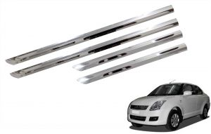 Side beading for cars - Trigcars Maruti Suzuki Swift Dzire 2008-2010 Car Steel Chrome Side Beading