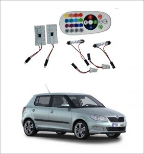 Trigcars Skoda Fabia 2 X 16 Colors Rgb Bright 5050 LED Car Roof Dome Light Festoon T10 IR Remote