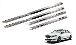Trigcars Skoda Rapid Car Steel Chrome Side Beading