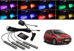 Trigcars Fiat Punto Car 4x 12led Rgb Car Interior Atmosphere Neon Light Strip Lamps Music Remote Control Car Bluetooth