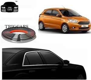 Trigcars Ford Figo New Car Side Window Chrome Beading Moulding Roll Car Bluetooth