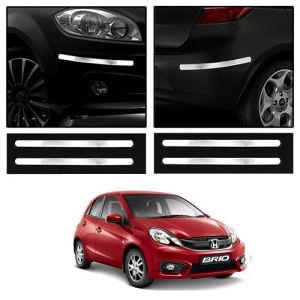 Trigcars Honda Brio Car Chrome Bumper Scratch Potection Guard Car Bluetooth