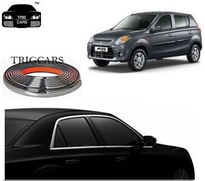 Trigcars Maruti Suzuki Alto 800 Car Side Window Chrome Beading Moulding Roll Car Bluetooth