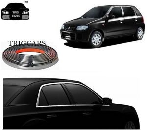 Trigcars Maruti Suzuki Alto Car Side Window Chrome Beading Moulding Roll Car Bluetooth