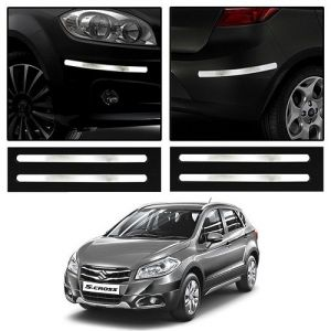 Trigcars Maruti Suzuki S Cross Car Chrome Bumper Scratch Potection Guard Car Bluetooth