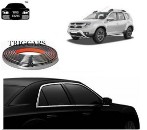 Trigcars Renault Duster Car Side Window Chrome Beading Moulding Roll Car Bluetooth
