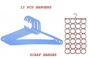 12 PCs Plastic Hangers With Free Scarf Hanger 28 Column Holder Rack Space.
