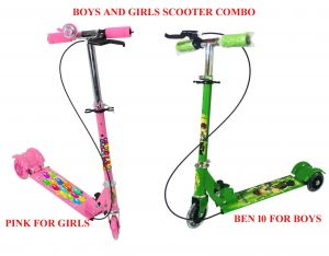 Ben10 Kid's Scooter With Brakes & Bell For Boys And Pink Scooter With Brakes & Bell For Girls.