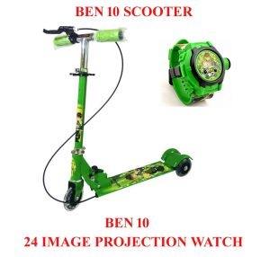 Ben10 Kid's Scooter With Brakes & Bell And Ben 10 Omniverse Kids Watch With Inbuilt 24 Projector Image.