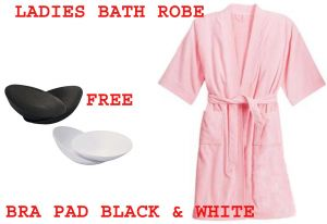 Ladies Bath Robe Free 2 Pair Of White & Black Bra Pad Inserts To Inhance Breast