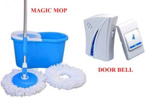 Magic 360 Degree Cleaning Spin Mop With 32 Melody Music Remote Control Cordless Doorbell.