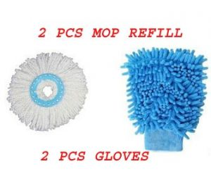 Set Of 2 Multi Purpose Microfiber Washing Gloves & Set Of 2 Mop Head Refills