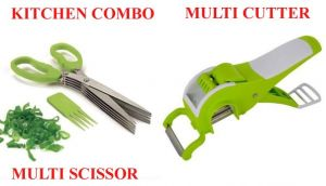 Stainless Steel 5 Blade Multi Cut Scissors Sharp Fresh Herb Multi Cutter With Peeler For Vegetable And Fruit Kitchen Tools
