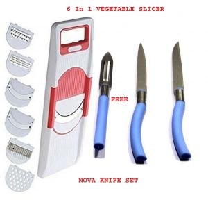 6 In 1 Vegetable Slicer With 3 PCs Nova Kitchen Knife Set Stainless Steel Combo Offer