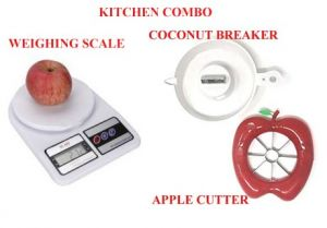 Kitchen Utility Combo Set Of 3 Electronic Kitchen Digital Weight Machine Weighing Scale 10 Kg,coconut Breaker, Apple Cutter