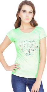 Waiverson Printed Round Neck Short Sleeve Cotton T-shirts For Women (light Green) (code -top-1817-sea-grn)