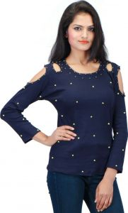 Waiverson Designer Cold Shoulder Stretchable Rib Top For Women (navy Blue) (code -top-1825-nvy)