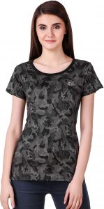 Waiverson Casual Army Pattern Sports T-shirts For Women (black) (code -sport-tee-army-blk)