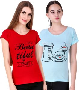 Waiverson Pack Of 2 Printed Cotton T-shirt Tops (red, Sky Blue) (code -cmb2-tees-17red-27sky)