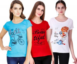Waiverson Pack Of 3 Printed Short Sleeve Cotton T-shirts For Women (turquoise, White, Red) (code -cmb3-top-1817-wht-trqs-red)