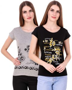 b97159a6980804 Waiverson Pack Of 2 Printed Short Sleeve Cotton T-shirts For Women (Black,  Grey) (Code -CMB2-TOP-1817-BLK-GRY)