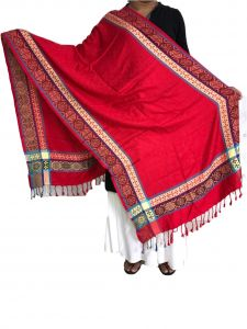 Handloom weaves - Krish Viscose Stole Shawl Red For Women (Code - VSRed)