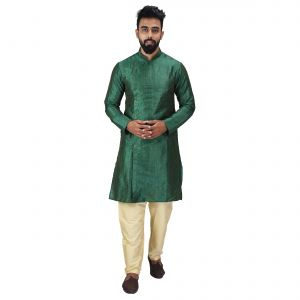 Angrakha Cotton Silk Regular Fit Self Design Kurta Pajama Set ( Code - Bckuset018)