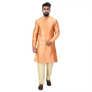 Angrakha Cotton Silk Regular Fit Self Design Kurta Pajama Set ( Code - Bckuset029)
