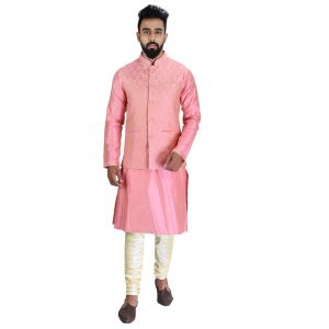 Men Kurta, Ethnic Jacket And Pyjama Set Cotton Silk ( Code - Ethset017)