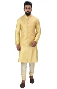 Men Kurta, Ethnic Jacket And Pyjama Set Cotton Silk ( Code - Ethset023)
